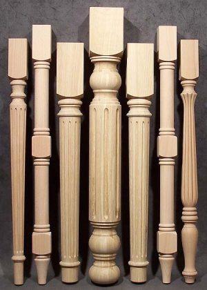 Gambe di legno per tavolo spesse e sottili, fresate e tornite, in legno di quercia e faggio