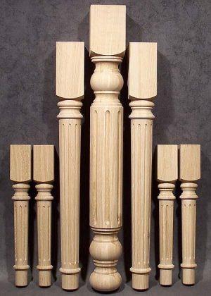Gambe in legno per tavoli di quercia con varie altezze