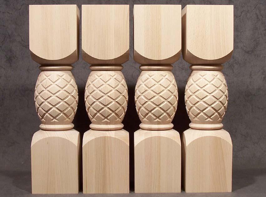 Gambe per tavoli in legno con motivo ad ananas, in faggio essiccato artificialmente