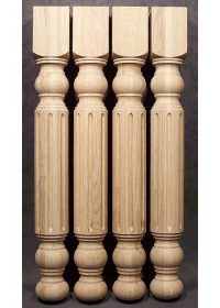 Gambe per tavoli in legno decorate al centro con solchi larghi, TH200