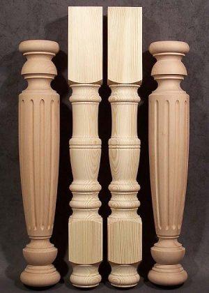 Gambe per tavoli tornite in legno di pino e di faggio trattato al vapore