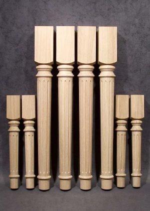 Gambe per tavolo legno in stile identico, di quercia, con sezioni 80x80 e 55x55 mm